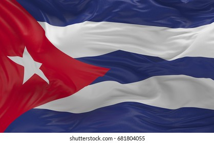 National Flag of the Cuba waving in the wind 3d render