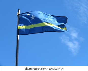 National flag of Curacao on a flagpole