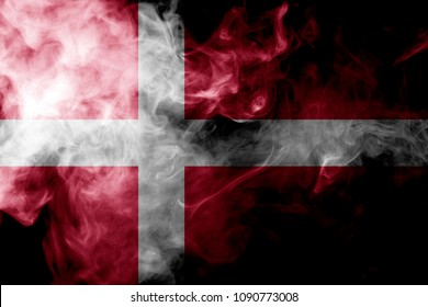 National flag of Denmark from thick colored smoke on a black isolated background