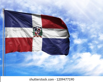 National flag of Dominican Republic on a flagpole