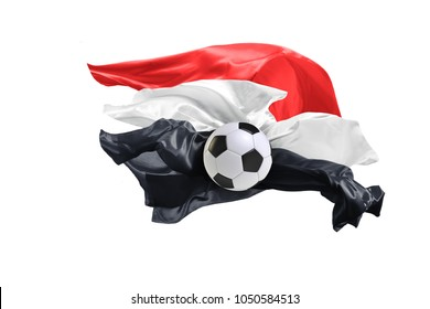 The national flag of Egypt. Flag made of fabric. Football and soccer concept. Fans concept. Soccer ball with fabric. Isolated on white background. Flying flag.
