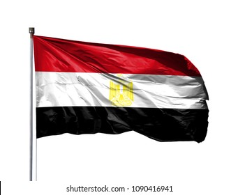 National flag of Egypt on a flagpole, isolated on white background