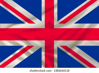 national flag of england on silk fabric with soft folds