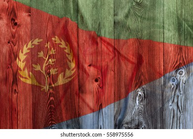 National flag of Eritrea on wooden background