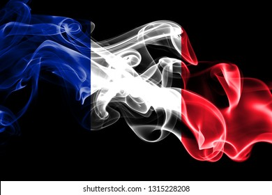 National flag of France made from colored smoke isolated on black background. Abstract silky wave background