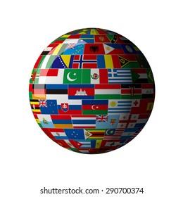 National flag, globe
