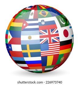 national flag globe illustration.