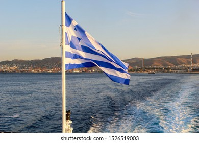The National Flag of Greece with the White Cross Symbolizing  Eastern Orthodox Christianity