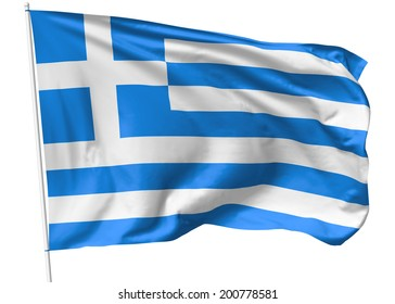 National flag of Hellenic Republic (Greece) on flagpole flying in the wind isolated on white, 3d illustration