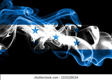 National flag of Honduras made from colored smoke isolated on black background. Abstract silky wave background