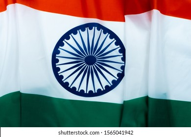 National flag of India on white background for Indian Independence day. Top view, copy space for text.