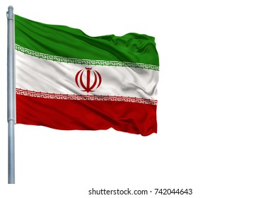 National flag of Iran on a flagpole, isolated on white background.