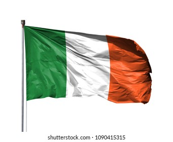 National flag of Ireland on a flagpole, isolated on white background