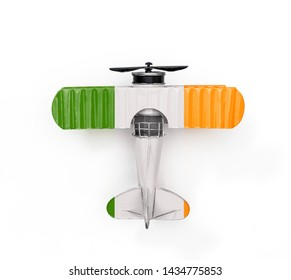 National Flag of Ireland travel Metal toy plane isolated on white