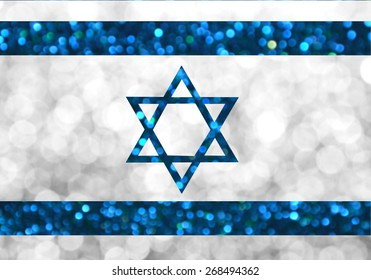 The National flag of Israel made of bright and abstract blurred backgrounds with shimmering glitter