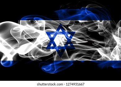 National flag of Israel made from colored smoke isolated on black background