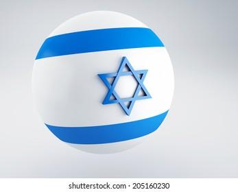 National flag of israel on sphere. 3d illustration