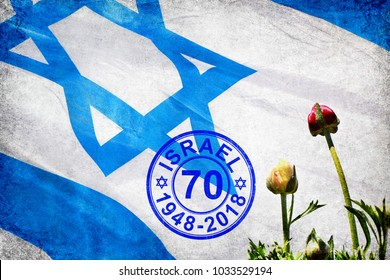 National flag of Israel and spring flowers background. Stamp to 70 anniversary of the celebration of Israel state (1948 - 2018). Independence Day. Collage of my photos and illustration