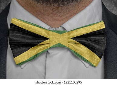 National flag of Jamaica on bowtie business man suit