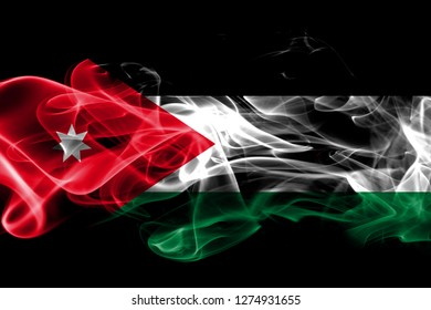 National flag of Jordan made from colored smoke isolated on black background