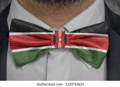 National flag of Kenya on bowtie business man suit