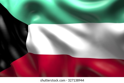 National Flag of the Kuwait waving in the wind