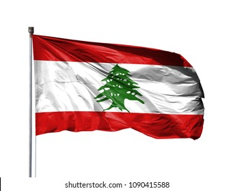 National flag of Lebanon on a flagpole, isolated on white background
