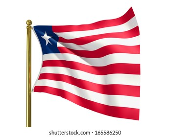 The national flag of Liberia isolated on a white background. Clipping path supplied with file.