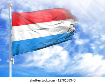 National flag of Luxembourg on a flagpole
