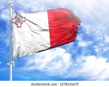 National flag of malta on a flagpole