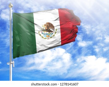 National flag of Mexico on a flagpole