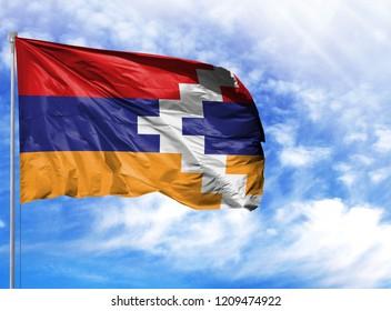 National flag of Nagorno-Karabakh Republic on a flagpole