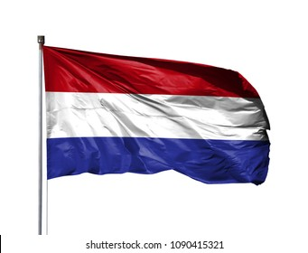 National flag of Netherlands on a flagpole, isolated on white background