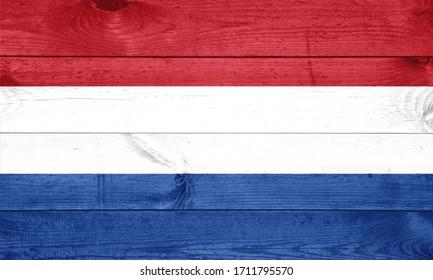 National flag of Netherlands on a wooden background