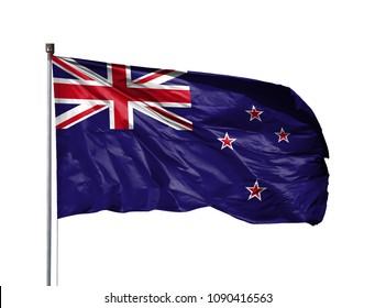 National flag of New Zealand on a flagpole, isolated on white background