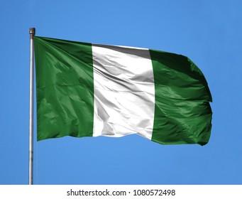 National flag of Nigeria on a flagpole