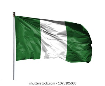 National flag of Nigeria on a flagpole, isolated on white background