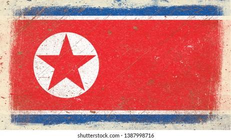 National Flag of North Korea - Rectangular Shape patriotic symbol