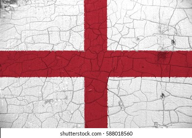The national flag on cracked wooden surface: England