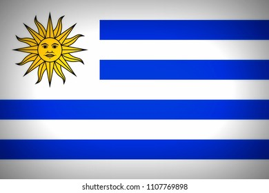 National flag of Oriental Republic of Uruguay.