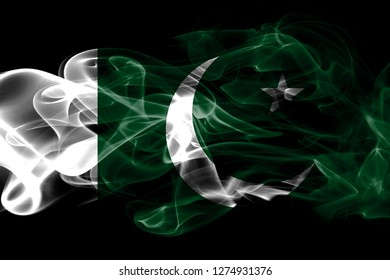 National flag of Pakistan made from colored smoke isolated on black background