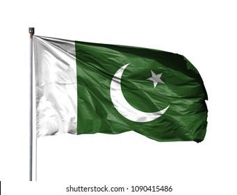 National flag of Pakistan on a flagpole, isolated on white background