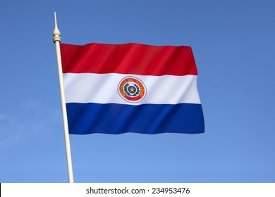 National flag of Paraguay - adopted in 1842. It is unusual because the insignia differs on obverse and reverse sides of the flag (this the obverse side).