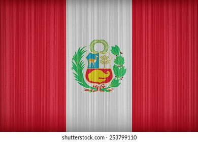 National flag of Peru flag pattern on the fabric curtain,vintage style