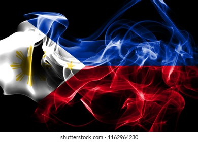 National flag of Philipines made from colored smoke isolated on black background