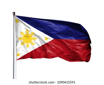National flag of Philippines on a flagpole, isolated on white background