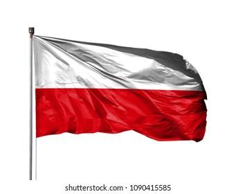 National flag of Poland on a flagpole, isolated on white background