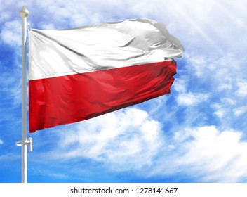 National flag of Poland on a flagpole