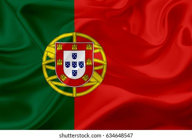 National flag of Portugal, with waving fabric texture