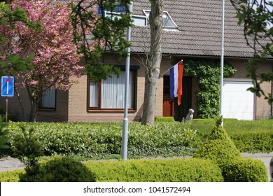 the national flag raised at a house in spring at King's Day